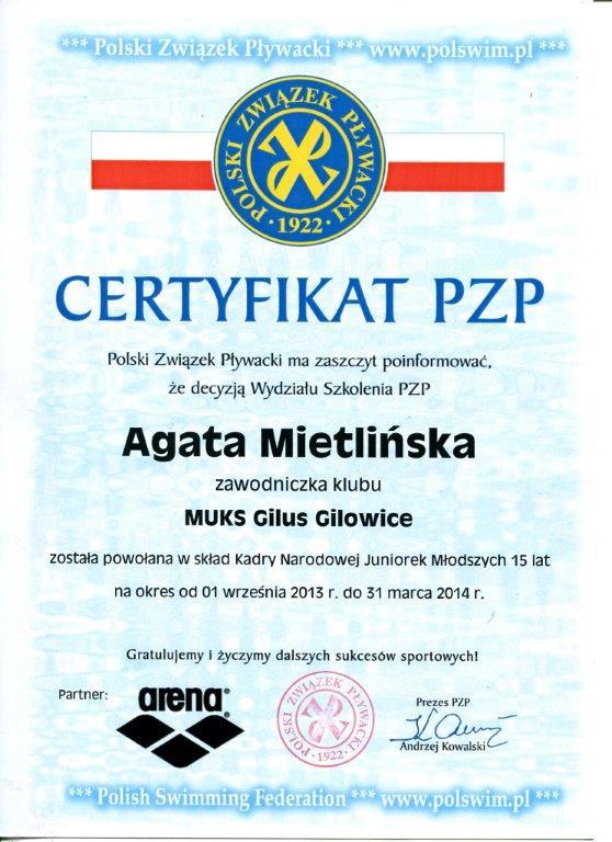 certyfikat Agaty
