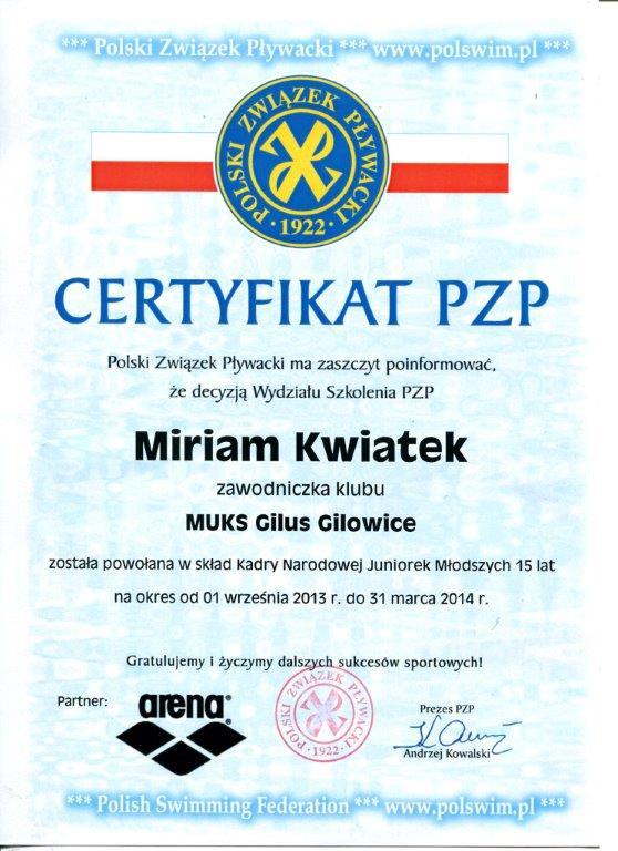 certyfikat Miriam